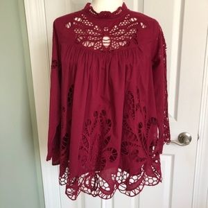 Anthropologie Laced High Neck Blouse